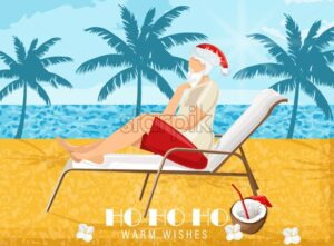 Santa Claus relaxing on sunbed in warm season. Drinking coconut cocktail. Palms and blue ocean on background. Vector - Starpik Stock