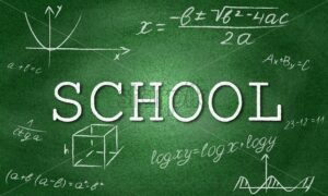 School vector with pixelated green background and formulas. Geometry drawings - Starpik Stock