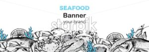 Seafood banner composition with red fish steak, oysters and crabs. Place for text. Blue color. Line art style vector - Starpik Stock