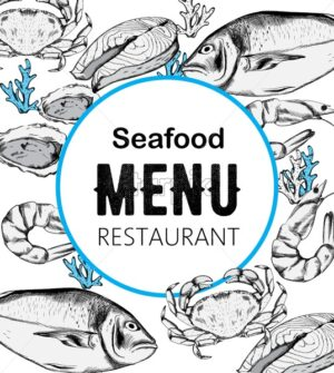 Seafood menu composition with red fish steak, oysters and crabs. Blue color. Place for text. Line art style vector - Starpik Stock