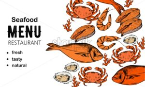 Seafood menu composition with red fish steak, oysters and crabs. Place for text. Line art style vector - Starpik Stock