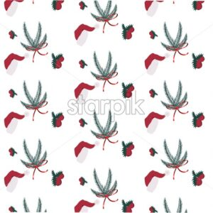Seamless winter composition with christmas hat, berries and fir tree leaves. Vector - Starpik Stock