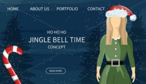 Secret santa site concept with green female elf and lollipop decoration. Blue background with line art holiday drawings. Vector - Starpik Stock
