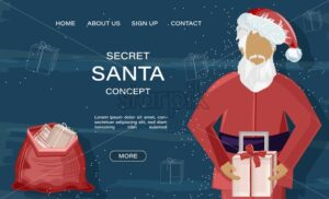 Secret santa site concept with santa claus holding gift box. Blue background with line art holiday drawings. Vector - Starpik Stock