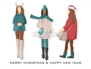 Set of Girls dressed in winter holidays outfit. Holding gift boxes and shopping bags. Pale Red and blue predominant colors. Vector - Starpik Stock