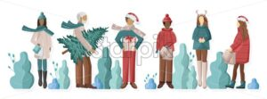 Set of Men and Girls dressed in winter holidays outfit. Holding christmas tree, gift boxes and shopping bags. Vector - Starpik Stock