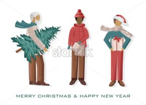 Set of Men dressed in winter holidays outfit. Holding christmas tree, gift boxes and shopping bags. Vector - Starpik Stock