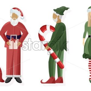Set of Santa Claus and green woman and man elf. Holding gift boxes and lollipop. Winter holidays vector - Starpik Stock