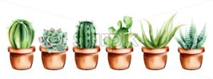 Set of watercolor cactus, aloe vera and flowers in ceramic pot. Vector - Starpik Stock