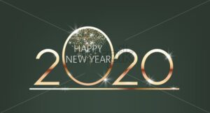 Shiny happy new year 2020 sign in a circle. Place for text. Winter holiday vector - Starpik Stock