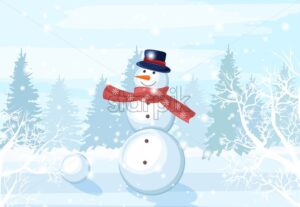 Snowman with red scarf, carrot nose and hat in the forest. Winter season vector - Starpik Stock