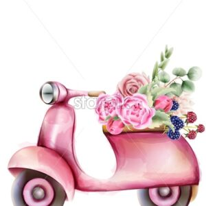 Vespa style pink scooter with flowers in the trunk. Watercolor vector - Starpik Stock