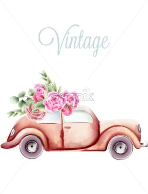 Vintage pink car with rose flowers and green leaves on the roof. Watercolor vector - Starpik Stock