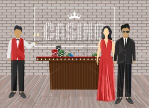 Waiters inviting people in the casino. Luxury clothes. Chips on red table. Bricks on background. Vector - Starpik Stock