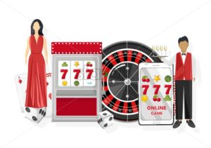 Waiters serving people in the casino. Triple seven jackpot on slot machine and mobile phone. Playing roulette, dices and chips. Vector - Starpik Stock