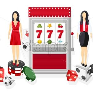 Waiters serving people in the casino. Triple seven jackpot on slot machine. Playing roulette, dices and chips. Vector - Starpik Stock