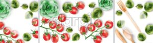 Watercolor big set compositions with wooden eating utensils and vegetables. Red tomatoes, olives. Place for text Green background. Ecology products vector - Starpik Stock