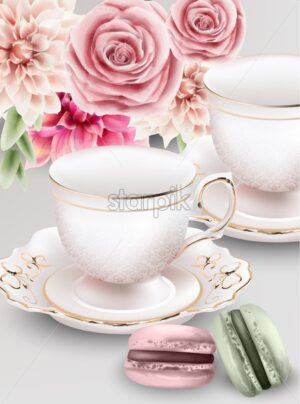 Watercolor composition with pink tea cups and macaroon sweets. Colorful flowers on background. Vector - Starpik Stock