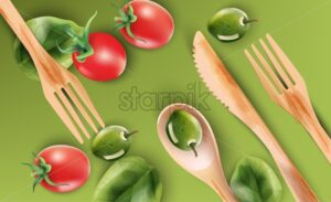 Watercolor composition with wooden eating utensils and vegetables. Red tomatoes, olives. Green background. Ecology products vector - Starpik Stock
