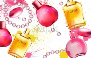 Watercolor set of perfume bottles. Splashes of yellow and pink colors. Beads decorations. Vector - Starpik Stock