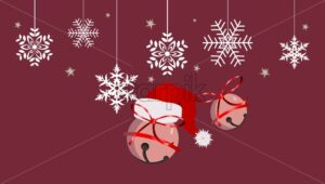 Winter composition with rose bauble and white snowflakes hanging, fir tree leaves and fruit. Pine cone. Vector - Starpik Stock