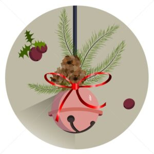 Winter composition with rose bauble hanging, fir tree leaves and fruit. Pine cone. Vector - Starpik Stock
