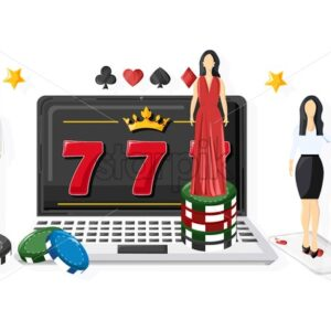 Woman waiters serving people in the casino on slot machine. Triple seven jackpot. Playing cards, dices, chips. Vector - Starpik Stock