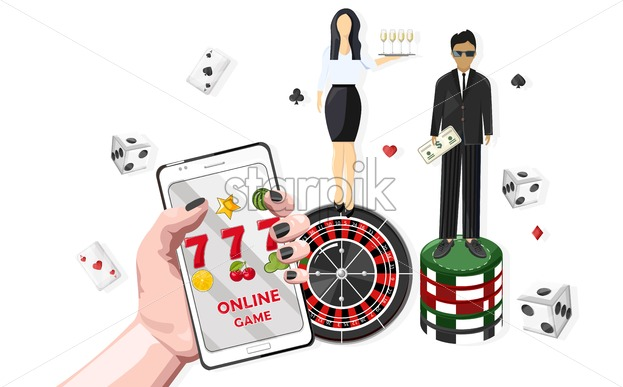 Woman waiters serving people in the casino. Triple seven jackpot on mobile phone. Playing roulette, dices and chips. Vector - Starpik Stock
