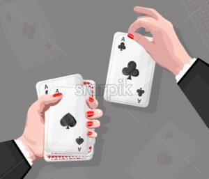 Woman with red nails playing cards. Reflections on background - Starpik Stock