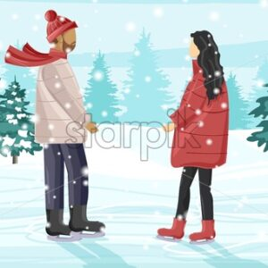 Young couple skating on ice rink outside in the park. Snow falling. Trees on background. Winter season vector - Starpik Stock