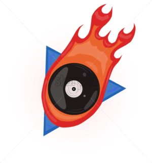 80s style Vector retro design. Disk on fire . Music vinyl vintage posters - Starpik Stock