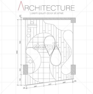 Architect blueprint plan of beauty boutique with fluid shape construction. Vector - Starpik Stock
