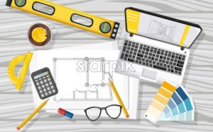 Architect desk with laptop, level tool, tea, glasses, calculator, blueprint, color book a nd others Vector - Starpik Stock