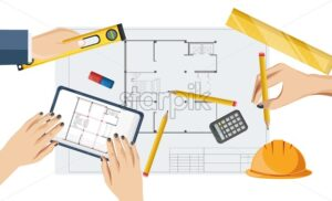 Architect hands drawing a blueprint with rulers, compass and pencil, bubble level, yellow helmet on table. Overhead view. Vector - Starpik Stock
