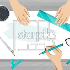 Architect hands drawing a blueprint with rulers, compass and pencil. Glasses on table. Overhead view. Vector - Starpik Stock