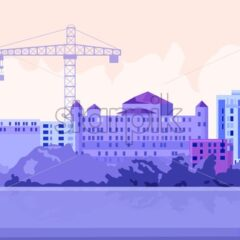 Architect sitting in front of buildings and crane. Building a city idea. Vector - Starpik Stock