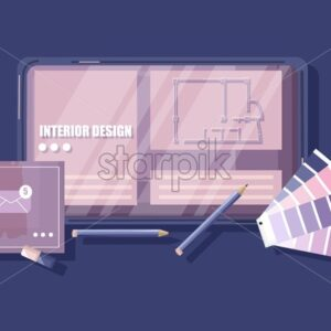 Architectors desk with pantone color formula guide, keyboard, sketch and coffee with heart shape. Glasses and pencil. Overhead. Vector illustration - Starpik Stock