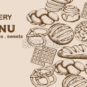 Bakery menu with bread, cakes, sweets and place for text. Line art vector - Starpik Stock