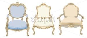Baroque style chairs with elegant decor. Victorian luxury craft. Vector - Starpik Stock