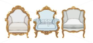 Baroque style chairs with gold elegant decor. Victorian luxury craft. Vector - Starpik Stock