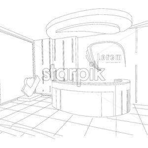 Beauty boutique interior outline sketch with modern design. Place for text or brand. Vector - Starpik Stock