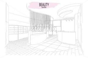 Beauty boutique interior outline sketch with modern design. Place for text. Vector - Starpik Stock