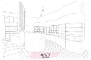 Beauty boutique interior outline sketch with modern design. Vector - Starpik Stock