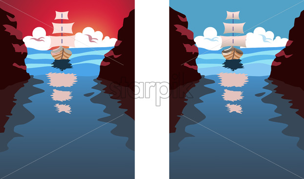Big sail boat approaching a strait. Blue water and clouds in the sky. Holiday, vacation idea. Vector set with different colors - Starpik Stock