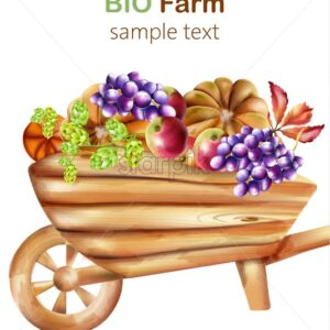 Bio farm composition with wooden wheelbarrow filled with artichoke, pumpkins, apple, grapes and leaves. Watercolor Vector - Starpik Stock
