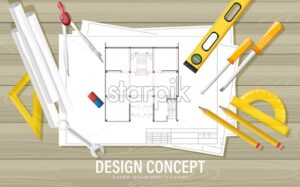 Blueprint design concept with architect tools on wooden table. Ruler, compass, screwdriver, spirit level, calculator, pencil and wrench. - Starpik Stock