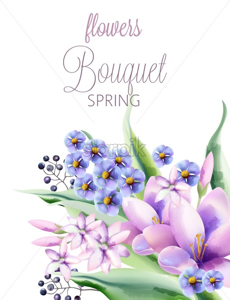 Bouquet of spring flowers with crocus, violet, lilac flowers and berries. Vector - Starpik Stock