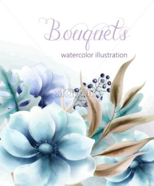 Bouquet of watercolor blue flowers with brown leaves and berries. Vector - Starpik Stock