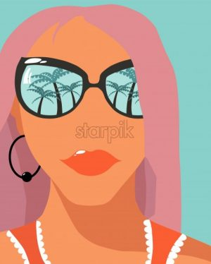 Cartoon fashion girl with rose hair and sunglasses with palm trees reflections. Holiday mood idea. Vector - Starpik Stock