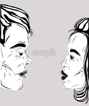 Cartoon of a couple in black and white preparing to kiss, view from side. Valentines day vector - Starpik Stock